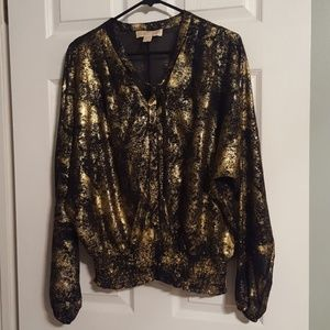 MICHAEL Michael Kors black & gold top